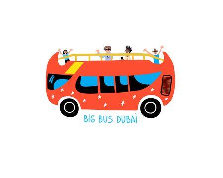 big bus Dubai - hand drawing icon travel excursion bus
