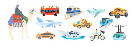 set of hand drawing flat style transport - various means of transportation,