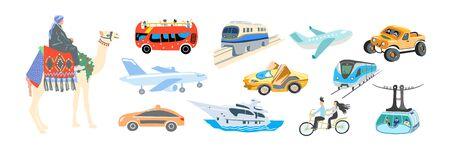 ensemble de transport de style plat de dessin à la main - divers moyens de transport,