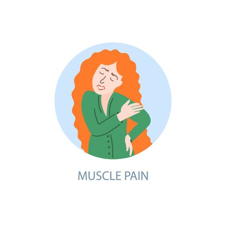 muscle pain - symptom of coronavirus, hand drawing icon, a sick girl with red hair hurts muscles, covid-19