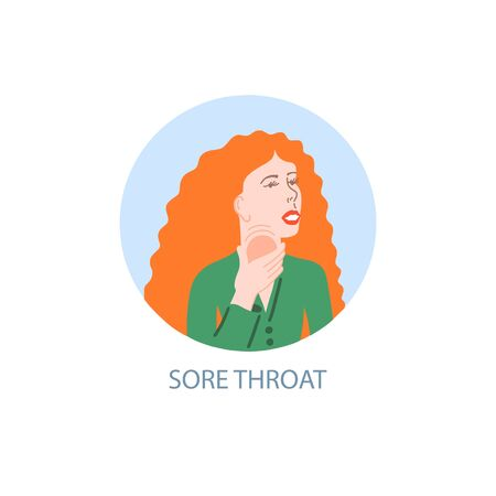 sore throat - symptom of coronavirus, hand drawing icon, sick girl with red hair holds sore throat with her hand, covid-19