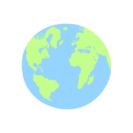 planet Earth hand drawing in flat trendy style, vector illustration