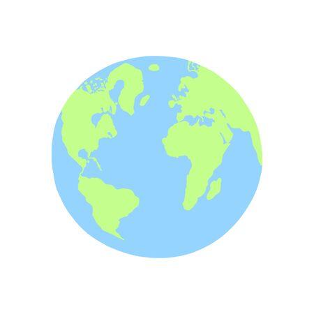 Planète Terre dessin à la main dans un style à la mode plat, illustration vectorielle
