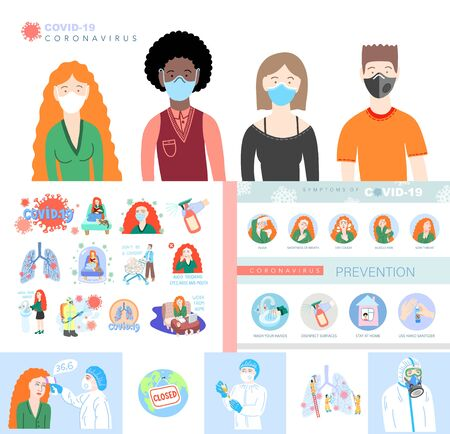 set of coronavirus illustration, signs and symbols of covid-19 - symptoms and prevention in flat style, people and doctors Çizim
