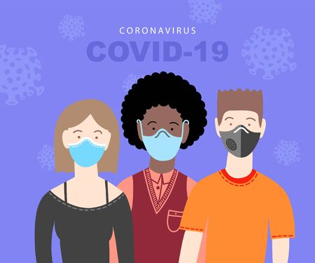 covid-19 coronavirus poster with three people in medical masks
