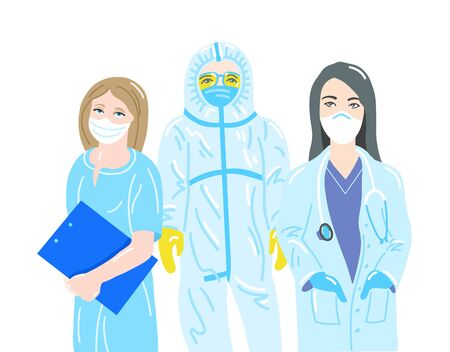 three doctors in protective disposable suits and masks Çizim
