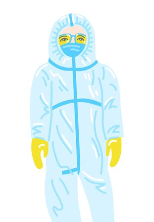 hand drawing of doctor in disposable protective suit in flat style Çizim