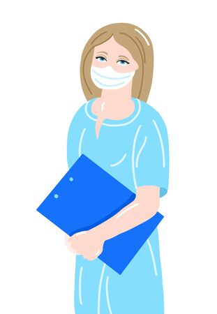 hand drawing of young nurse in a medical mask and dressing gown isolated on white
