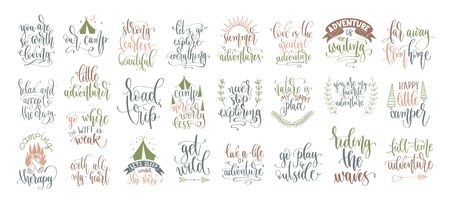 set of 25 hand lettering inscription posters about travel adventure, positive quotes