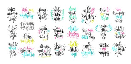 set of 25 hand lettering positive quote, motivation and inspiration phrases design Çizim