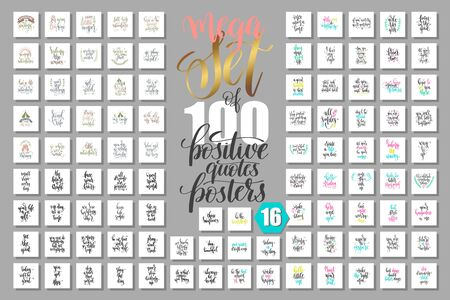 mega set of 100 positive quotes posters, motivational and inspirational phrases isolated to print, typography slogans
