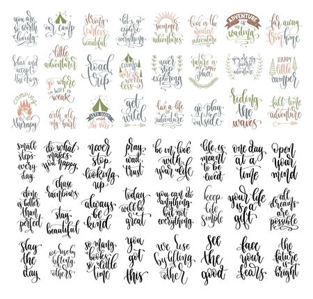 set of 50 hand lettering inscription positive quote, motivation and inspiration phrase