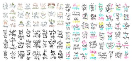 set of 100 hand lettering inscription positive quote, motivation and inspiration phrase