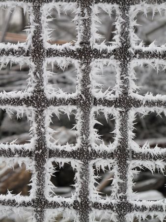 crossbars: Old metal, frost