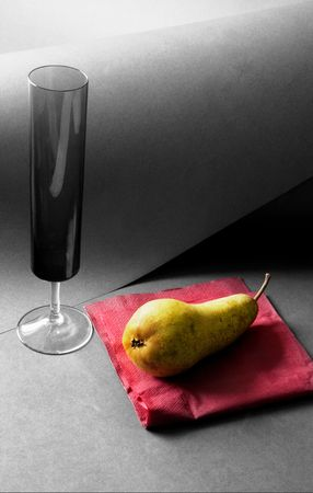 stillife: Stillife with a glass and a pear