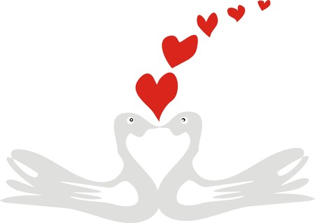 two love doves with red hearts departing