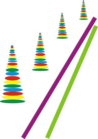 Colorful trees in perspective underlined two colored lines
