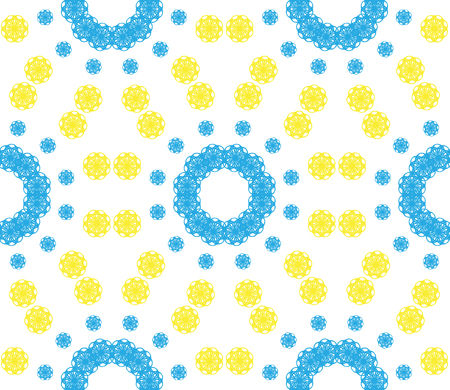 circling: Abstract seamless pattern of a circular form of blue, yellow color.Background for broad application with a possibility of change.Vector illustration.
