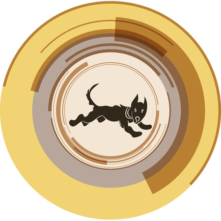 Running dog in a center of an abstract circle. Vector illustration. Illustration
