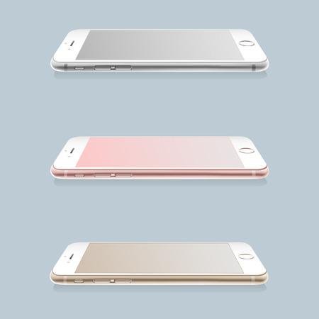 Realistic smartphones mockup set, vector illustration. Ilustracja