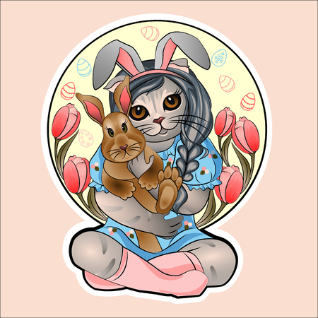 Easter greetings with spring mood, Easter bunny in the arms of a cat against the background of tulips