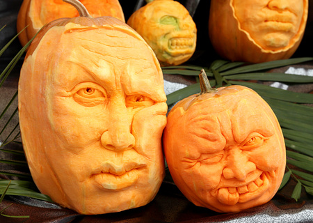 Pumpkin carving in the form of a human head Stock Photo