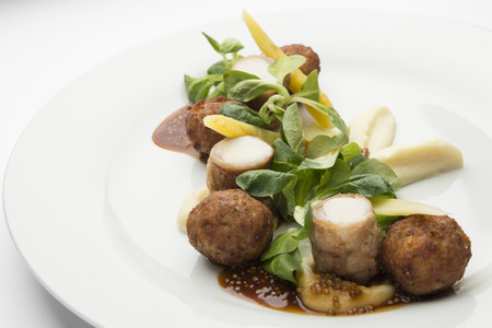 Rabbit and with meatballs mustard sauce and parsnip