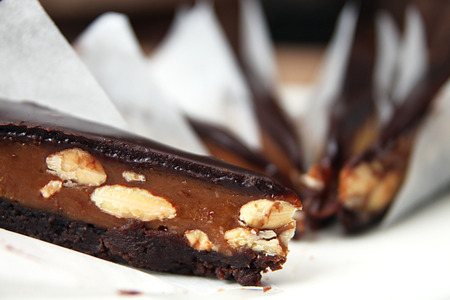 custard slice: Chocolate cake with almonds and chocolate glaze