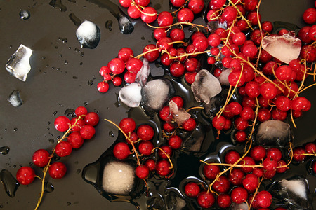 Red currant in glass bowl against black background with thawing cubes of ice and water