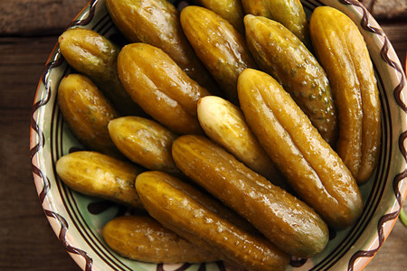 cucumbers: Canned pickled marinated cucumbers with spices and herbs