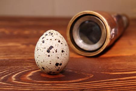 handheld: Quail egg and hand-held telescope