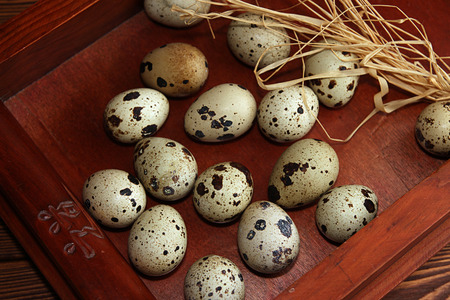 quail egg: Quail egg in wooden box. Stock Photo