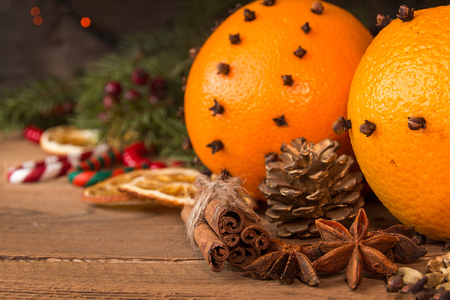 Ingredients for mulled wine over on wooden table. Christmas concept. Stock Photo