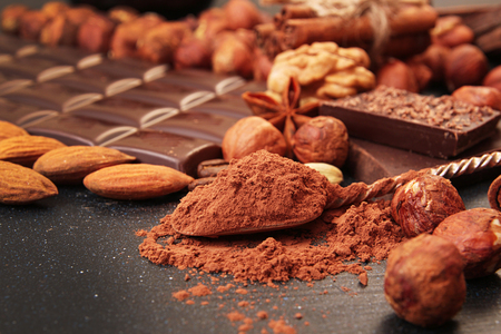Cocoa powder dessert spoon, chocolate pieces, almonds,  filbert, anise star on dark backgruond Stock Photo