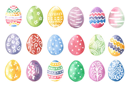 Happy Easter. Watercolor set of hand drawn colored Easter eggs isolated on white background. For greetings card design.