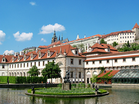 Waldstein Palace in Prague. Czech Republic. Prague attractions. Patio and fountain. Summer Фото со стока