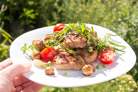 grill: Roasted pork medallions with cherry tomato, mushrooms and arugula on white plate againstgreen grass background