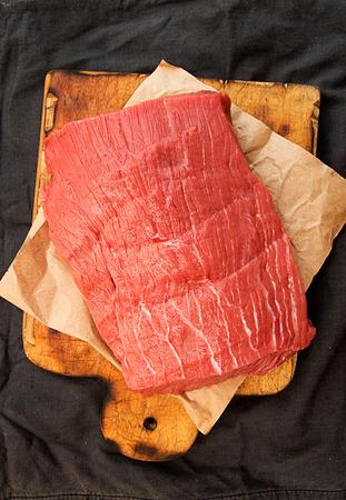 Overhead of whole beef tenderloin. Cooking dinner. Top wiew.