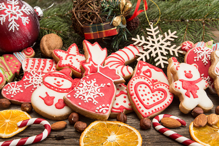 Gingerbread cookies. Christmas New Year holiday decoration.