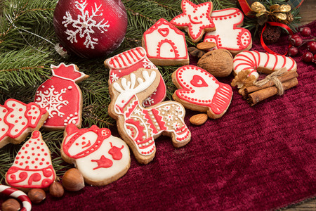 Gingerbread cookies. Christmas New Year holiday decoration. Copy space.