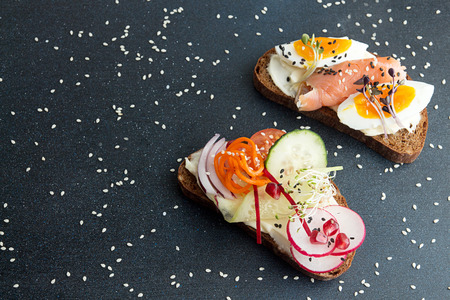Healthy breakfast toasts. Wholegrain rye bread slices with cream cheese, eggs, salmon, carrot, cucumber, radish, sesam and microgreen. Clean eating concept. Copy space
