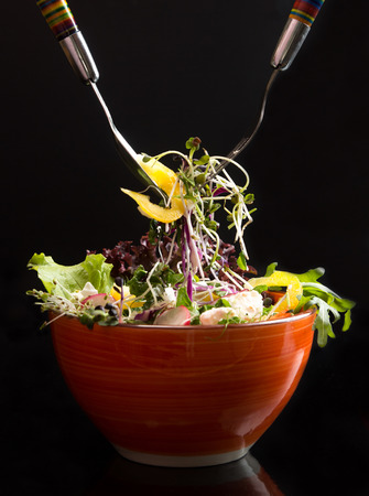 Bowl with fresh vegetarian salad of raw vegetables and microgreen on black background. Two forks. Salad ready-to-eat. Stockfoto
