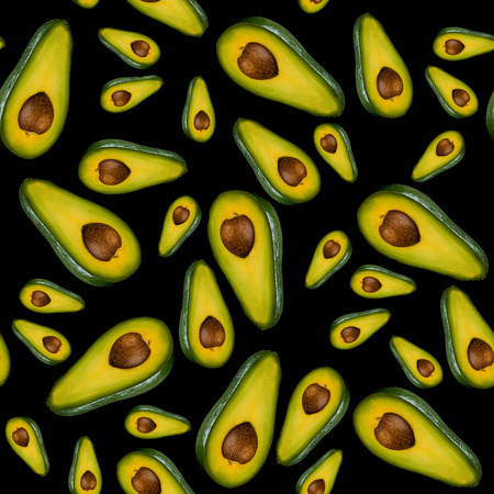 Seamless pattern hafs of avocado isolated on black background. Healthy clean vegetarian eating concept.