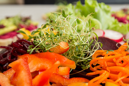 Healthy breakfast salad with vegetables and microgreen. Clean eating vegeterian dieting healthy food concept. Close up. Stockfoto