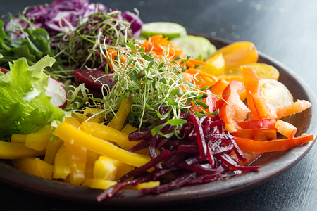 Healthy breakfast salad with vegetables and microgreen on dark background. Clean eating vegeterian dieting healthy food concept. Close up.