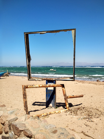 Empty frame on beach. Picture of sea. Red Sea, Dahab, Egypt.
