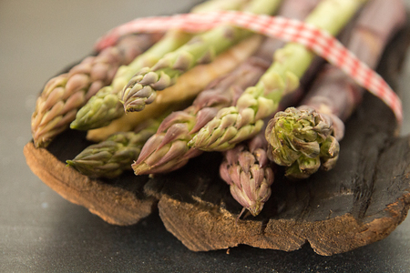 Set collection bouquet purple green white asparagus. Vegetarian dieting organic healthy eating concept. Stok Fotoğraf