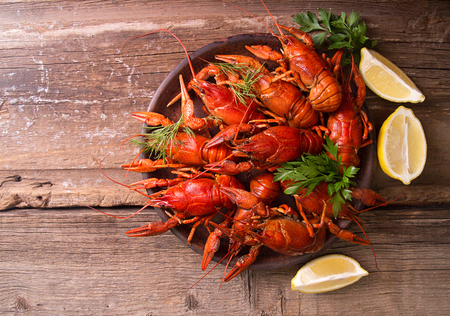 Beer party. Still life with crayfish crawfish on old wooden rustic background. Top view. Overhead. Copy space. Stok Fotoğraf