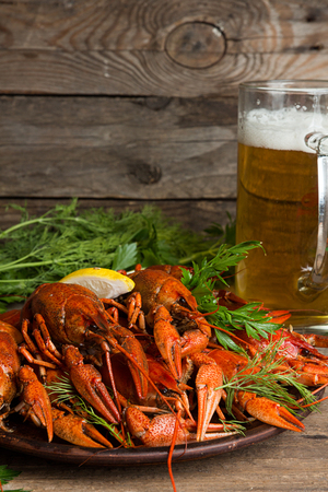 Beer party. Still life with glass of beer, crayfish crawfish against old wooden rustic background. Copy space.