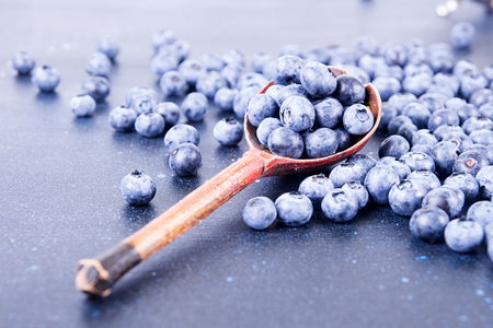 Blueberries background. Overhead top view. Copy space. 版權商用圖片